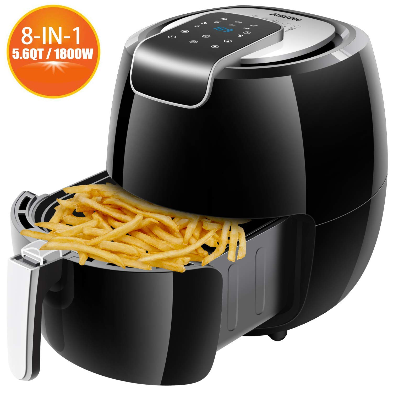 Air fryer, AUKUYEE Hot Air fryer Oil less Cooker with Touch Screen Control, Dishwasher Safe, Recipes, XL 5.6QT/1800W for Fast, Healthy & Oil-Free Cooking(Black)
