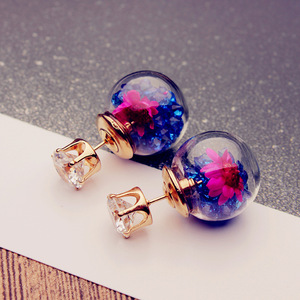 Christmas stud earrings for women lovely crystal with rose flower handmade Glass beads statement gift earrings