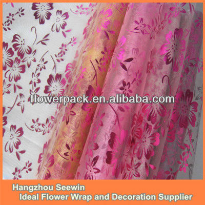 Flower pattern metal print sheer organza table runner
