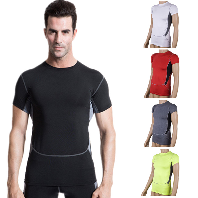 2015 Mens Compression Shirt Running Short Sleeve Spandex Elastic Breathable Tops Black Color Base Layer Running Training Shirt