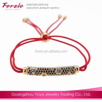 Bc1045 Fancy Red String Bracelet For Women Men Black Diamond Pave Evil Eye Bar