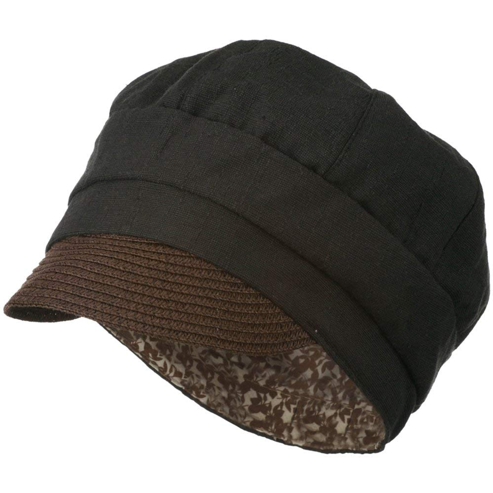 145aacd491480 Women s Paper Straw Brim Crushable Cabbie Hat - Black W12S57B