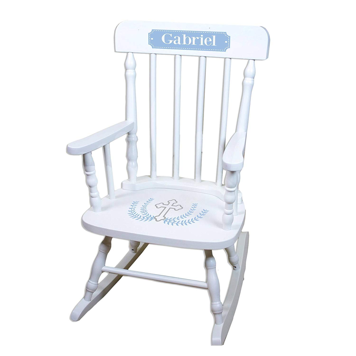 MyBambino Personalized Cross Garland Light blue White Wooden Childrens Rocking Chair