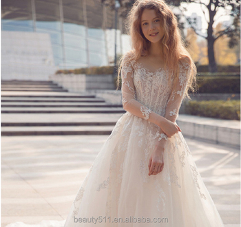 Simple Pricess Elegant Cheap Lace Three-quarter Sleeve Wedding Dress ...