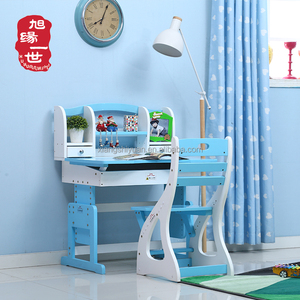 Preschool children type solid wood kids study table and chair set