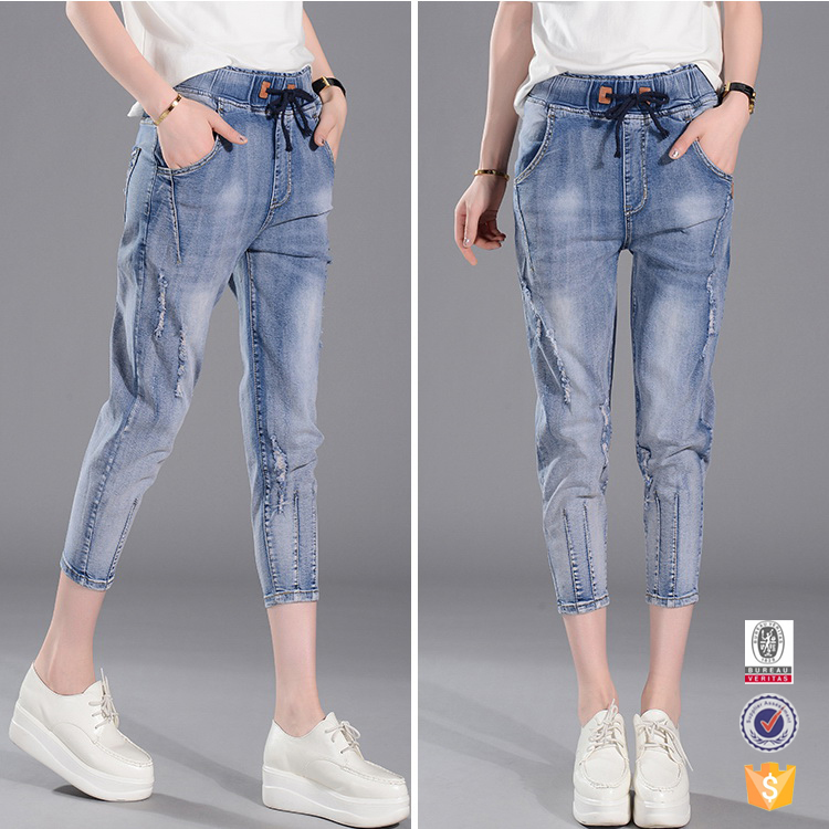 China online shopping wholesale women elastic waist jeans half pants