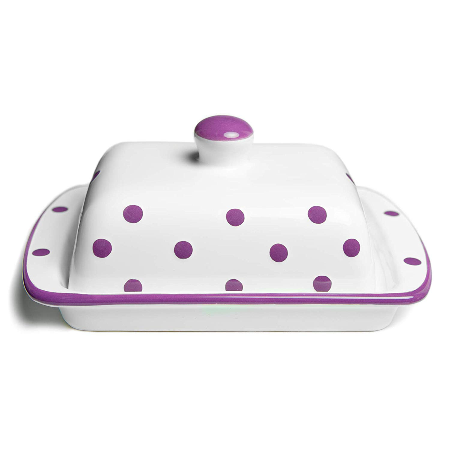 City to Cottage Handmade Ceramic European Covered Butter Dish with Lid | Unique White and Purple Polka Dot Pottery Butter Keeper | Housewarming Gift