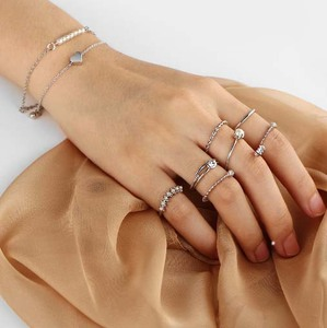 Zooying delicate pearl crystal 925 sterling silver ring set