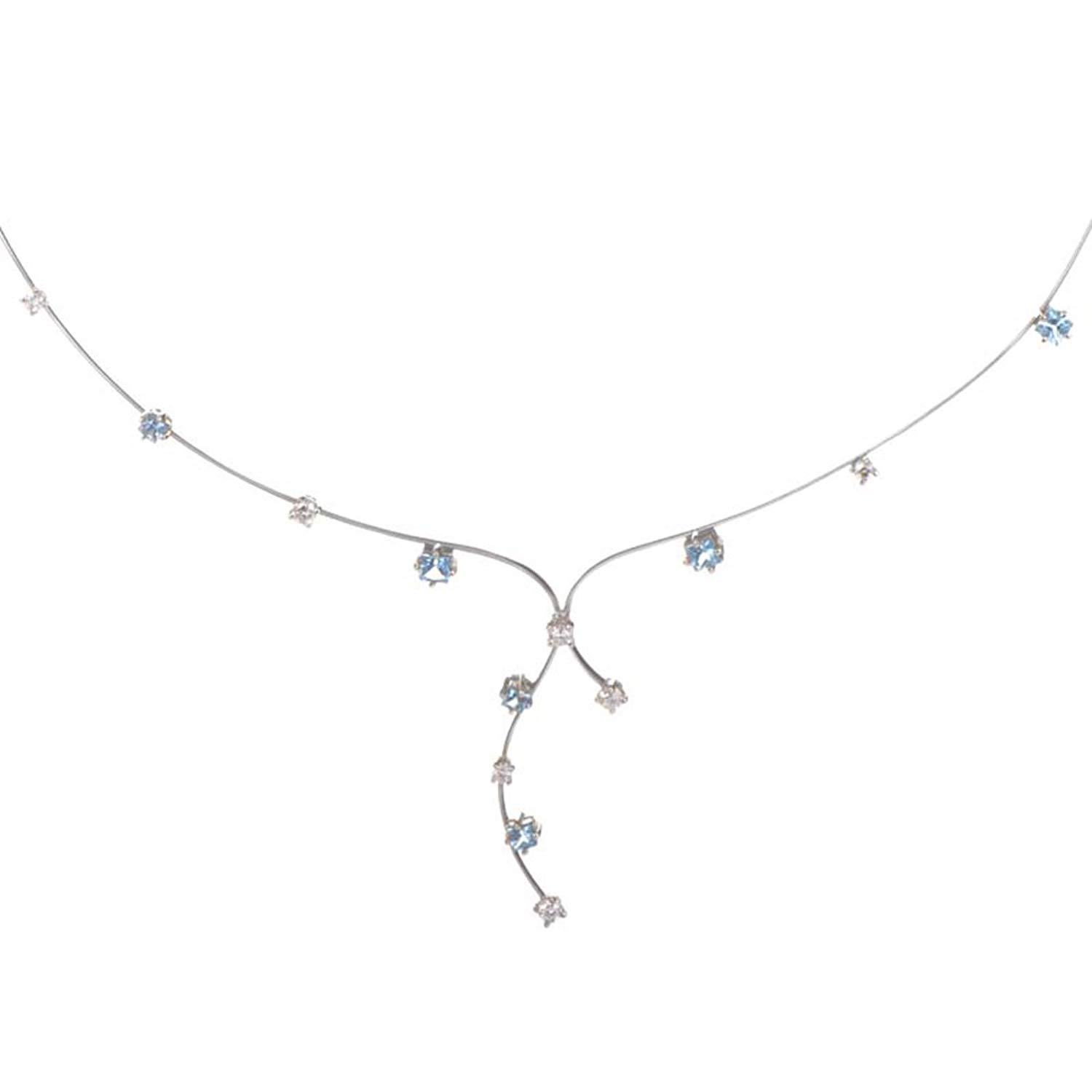 2cbe133cb088 Get Quotations · Roberto Coin Thin 18K White Gold Diamond and Topaz Collar  Necklace