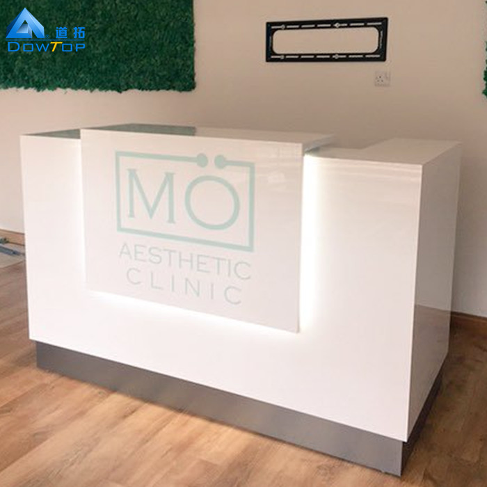Customized unique reception counter high end snow white marble modern reception desk
