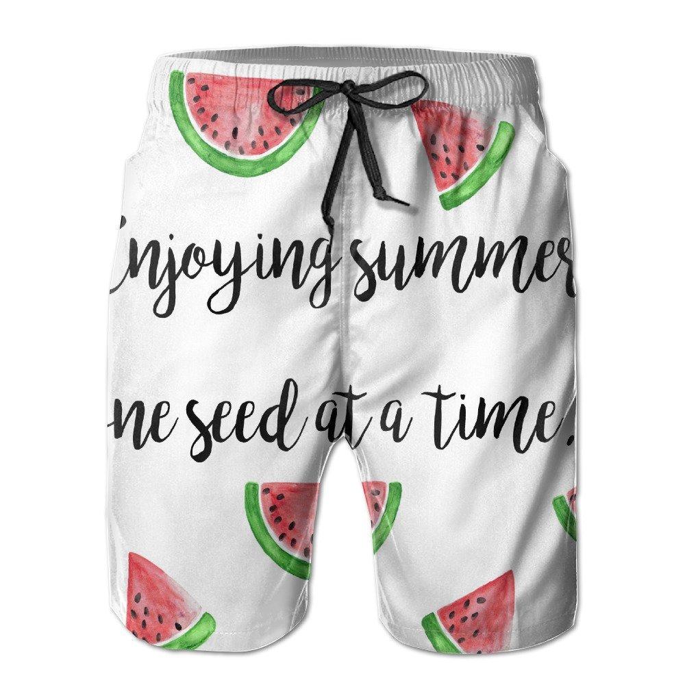 7a2997e57d Get Quotations · Bdna Cute Watermelon Men's Beach Shorts Swim Trunks Casual  Sport Print Short Pants Jogging Pants