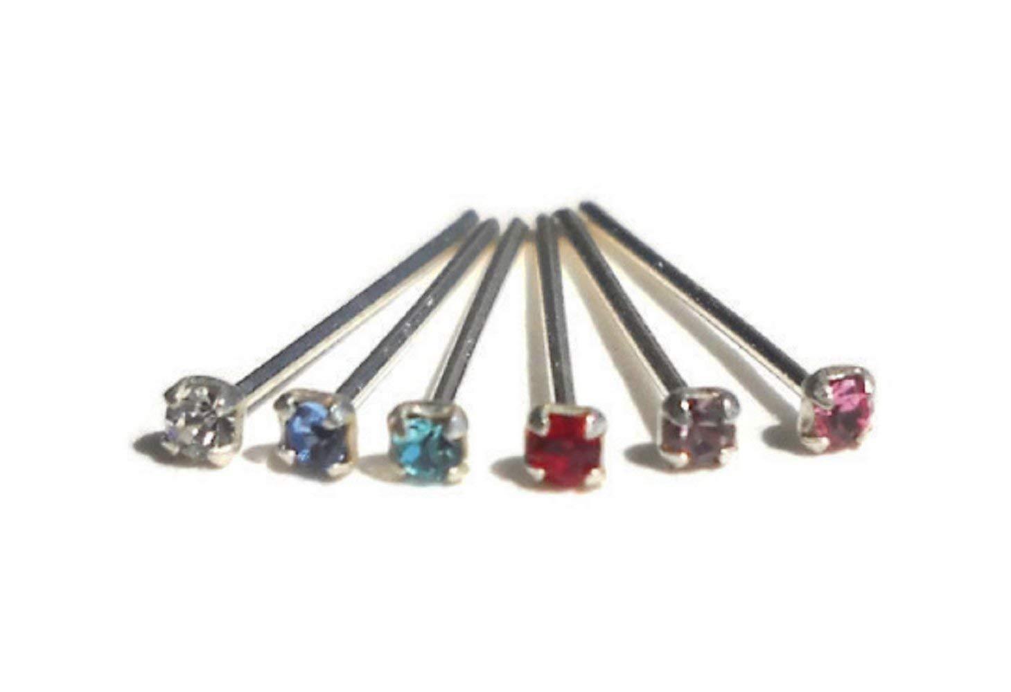 925 Sterling Silver Clear,Pink,Red,Lilac,Aqua,Light Blue,Black,Green Rhinestone Nose Stud 23 Gauge 1.5mm Rhinestone