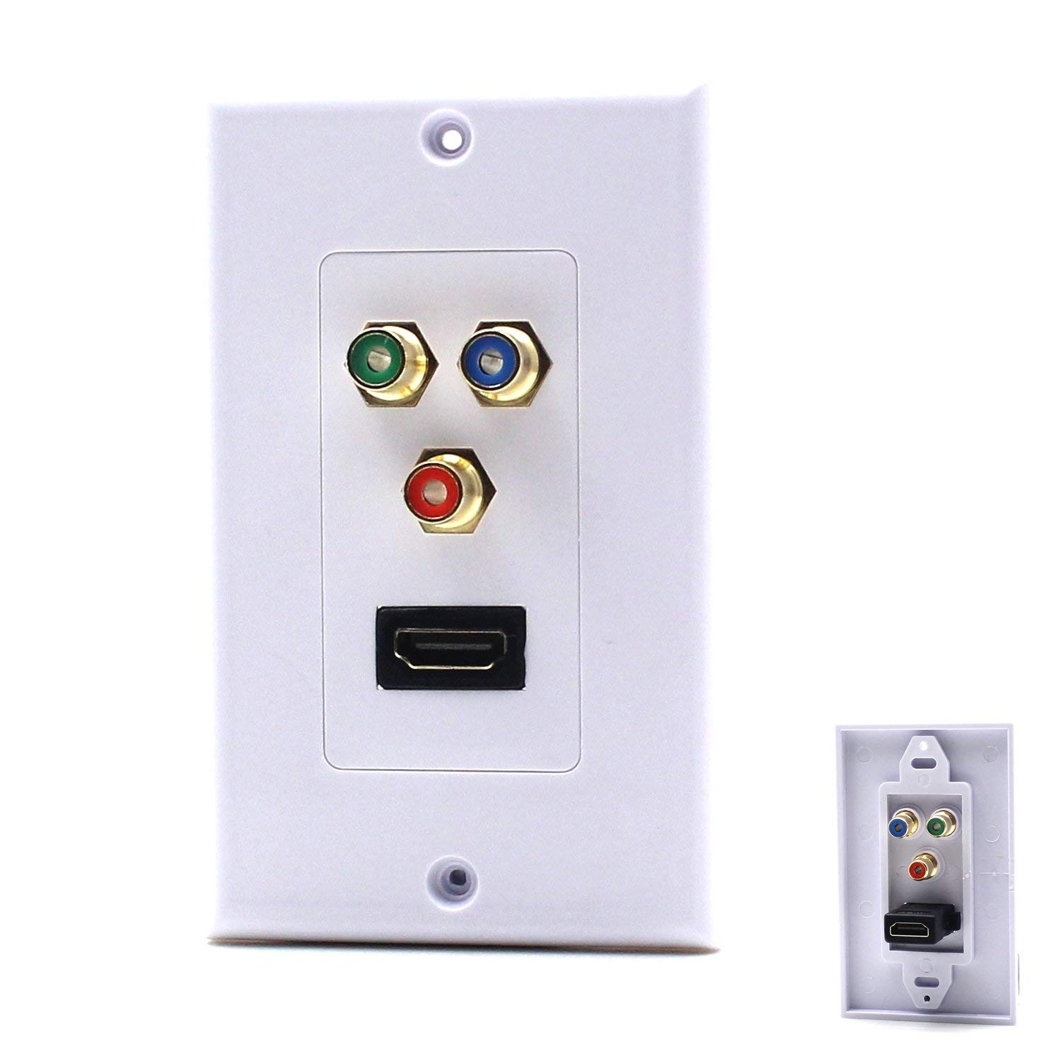 MOTONG New design Gold plated HDMI 3RCA Component Combo Wall Plate Panel(HDMI+3RCA)-White(Fulfilled by Amazon)
