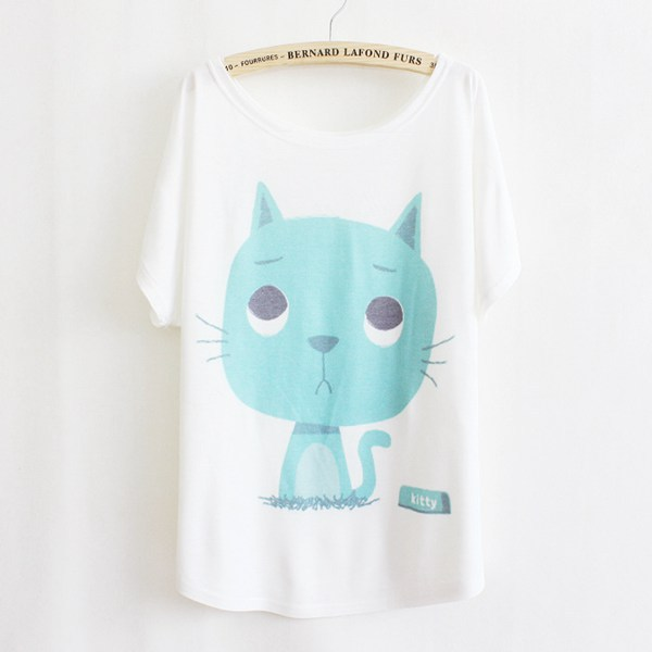 5022d603722e3 Get Quotations · Free shipping New Summer Women kitty T shirt 2015 Hot Sale  Fashion Cat Printed Loose Breathable