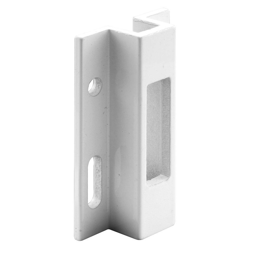 Prime-Line E 2124 Sliding Door Keeper, White Extruded Aluminum, For Hook Style Latch, Viking, Pack of 1