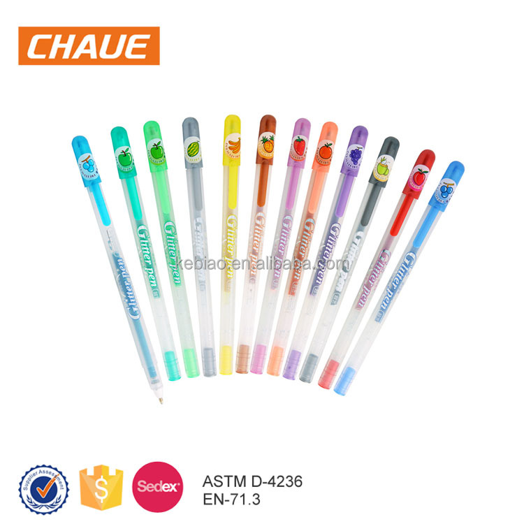 High quality colorful smooth ink glitter gel pen with foldable plastic case