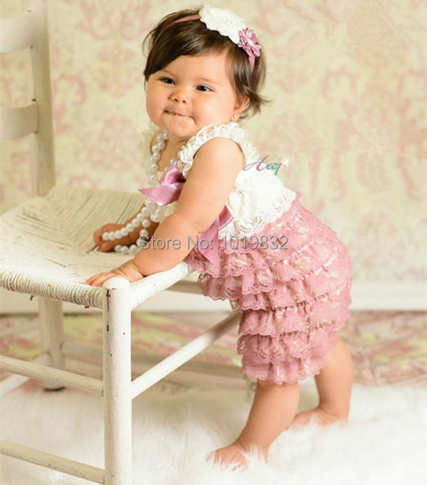 Ivory Dusty Rose Baby Girl Dresses Vintage Newborn Baby