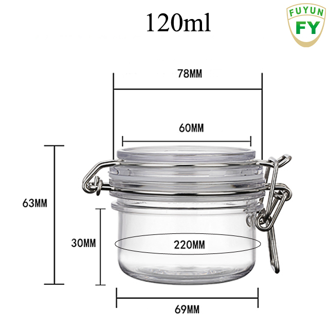 Fuyun MOQ 1pcs 120ml plastic jar,food storage container , candy jar