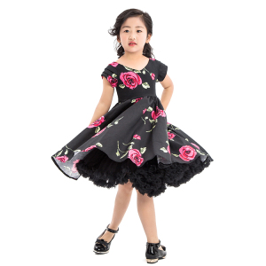 Expensive baby girls slim V collar Chinese fancy sleek rose flower dress