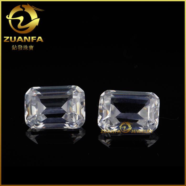 Zuanfa gems loose octagon emerald cut cubic zirconia white cz gemstone