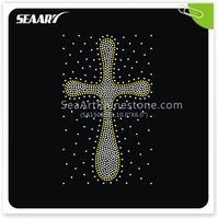 Cross with random scattered rhinestone transfers for T shirts