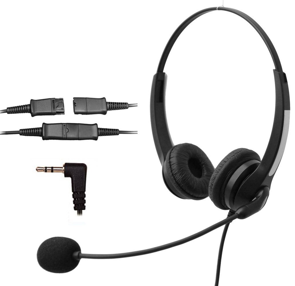 Voistek Corded Binaural Call Center Telephone Headset Noise Cancelling Headphone with Mic and Quick Disconnect for Cisco Linksys Polycom Panasonic Office Deskphone DECT Cordless and Cell Phones with 2.5mm Headset Jack (S20NP25MM)