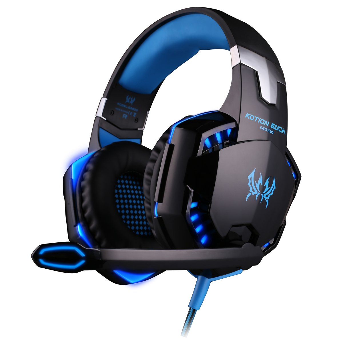 KOTION EACH G2000 Over-ear 3.5mm Stretchable Band Gaming Headphone with Mic for PC Game (Blue)