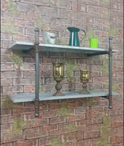 grey finish industrial two tier wall mounted shelf antique home decor