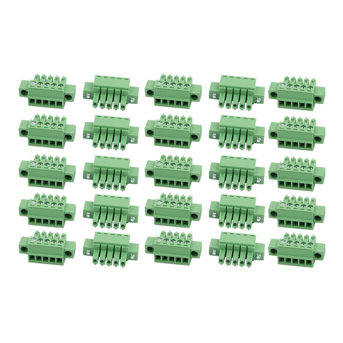 uxcell 25Pcs AC300V 8A 3.5mm Pitch 5P Terminal Block Wire Connection for PCB Mounting