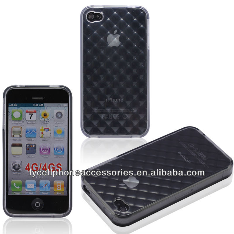 For Iphone 4G 4S Clear Checker TPU Marble Texture Case