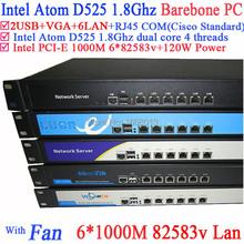 multi wLAN network server Barebone system with 6*82583v Gigabyte Intel D525 1.8G support ROS Mikrotik PFSense Panabit Wayos etc