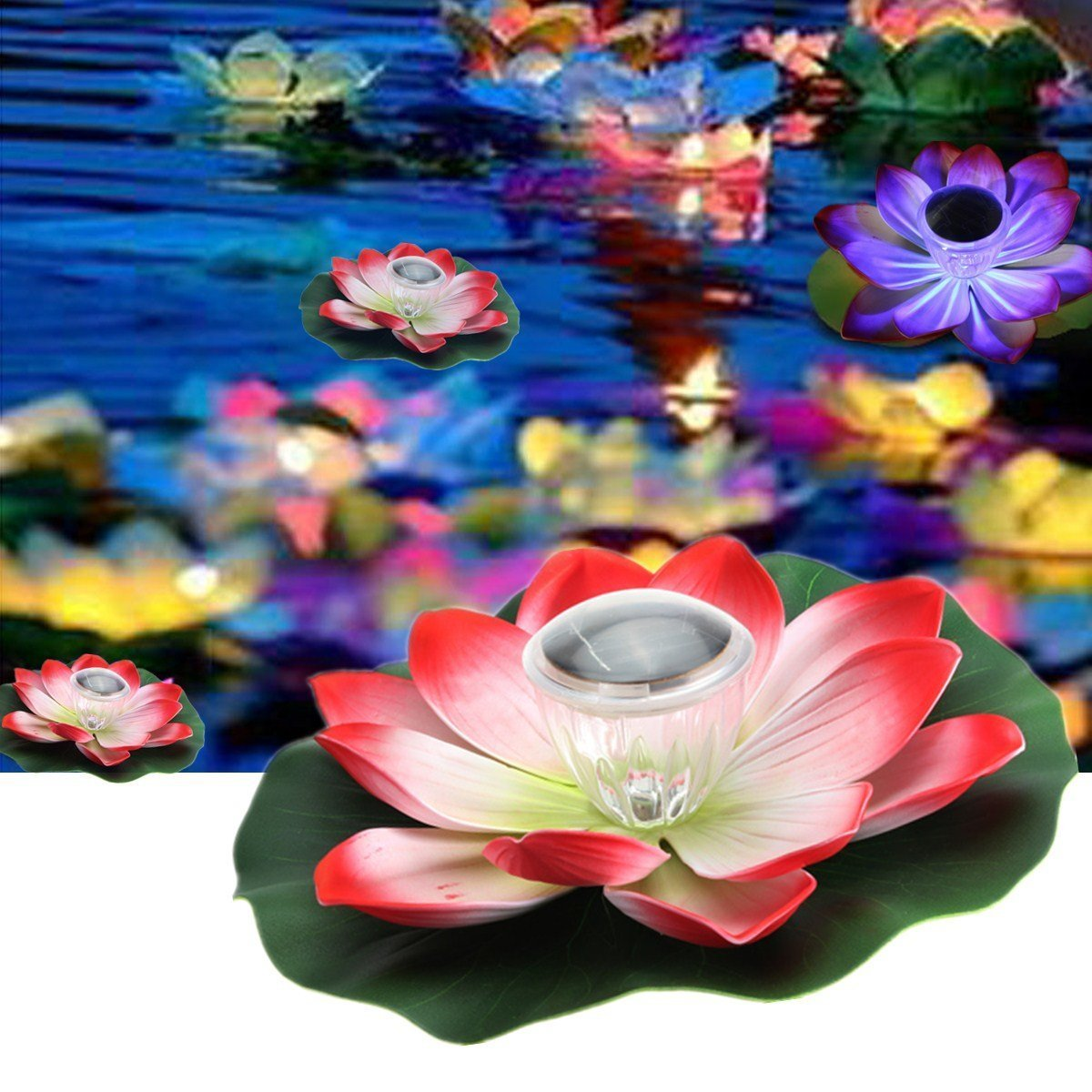 Buy Pink Lizard Solar Multi Color Led Lotus Flower Lamp Floating
