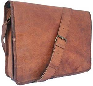 INDO CRAFT Laptop Messenger Bag Full Flap | Handmade craft Leather Unisex 100% Genuine Real Leather Messenger Bag for Laptop Briefcase Satchel