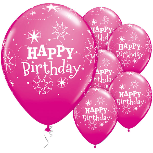 12 Inch Dark Pink Latex Party Balloon Happy Birthday Printed Balloon