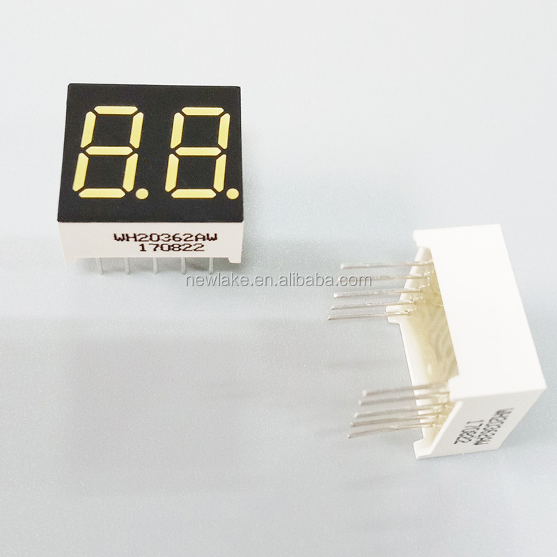 Hot vender 0.36 polegadas amarelo dual dígitos display LED