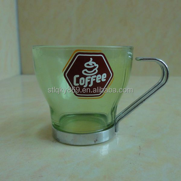 Green color custom printing 120ml coffee cup dishwasher pass glass coffee cup tea cup sublimation water glass with metal handle