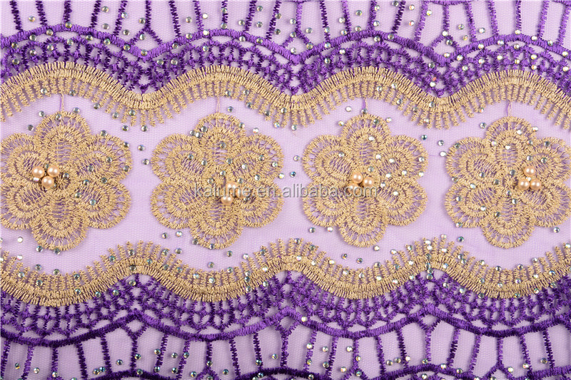 Purple Embroidered Mesh Tulle Lace With Stones African Lace Fabric High Class African French Net Lace Fabric For Wedding 1503