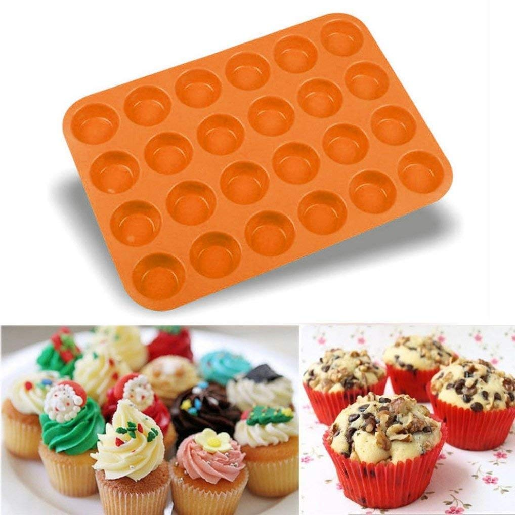 Muffin Mould Cupcake Bakeware Pan ,24 Cavity Mini Muffin Silicone Soap Cookies Cupcake Bakeware Pan Tray Mould