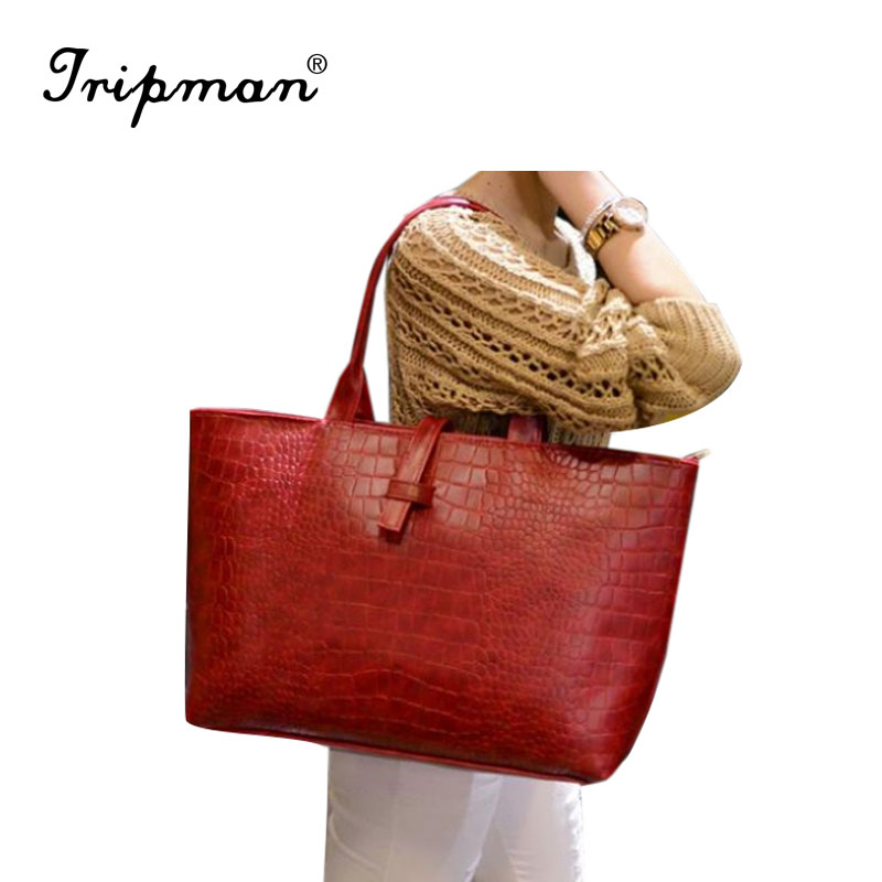 Vintage femininas rushed PU leather crocodile pattern big bags one shoulder elegant women casual <strong>totes</strong>