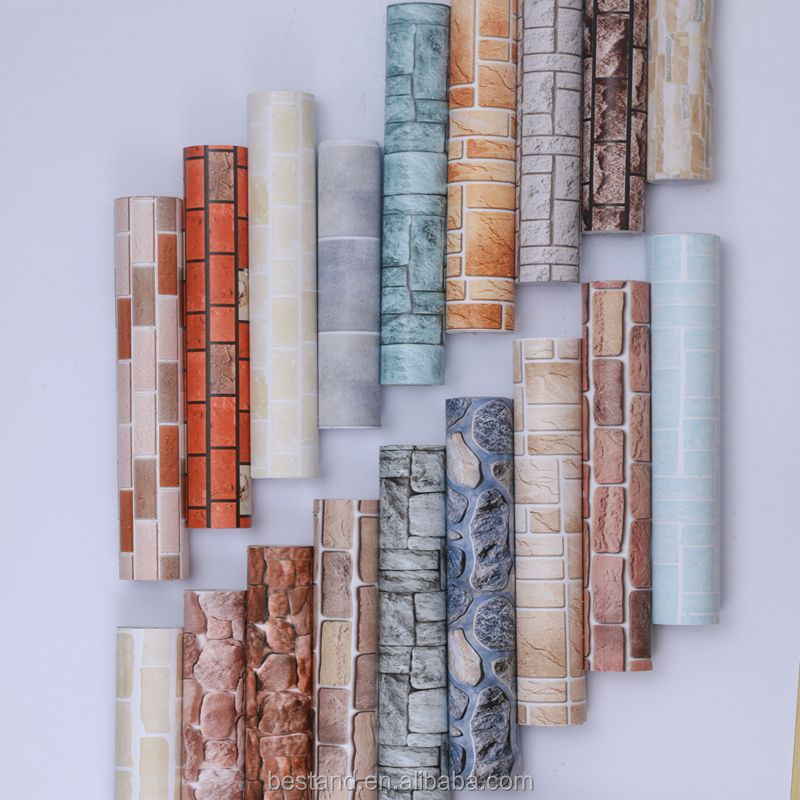 3D red brick wallpaper self-adhesive vinyl wall sticker wallpaper bar hotel household deco wallpaper