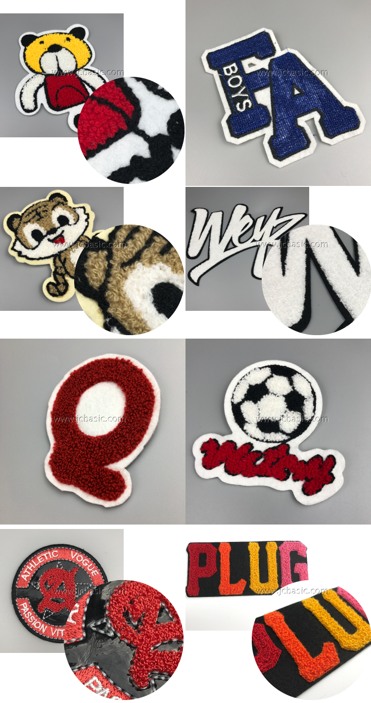 Wholesale Custom 100% Polyester Embroidery Chenille Patches For Clothing