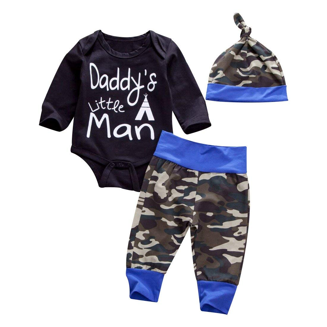 2a29c1f5 Get Quotations · Emmababy Newborn Daddy's Little Man Print Baby Boys Girls  Romper +Camo Cotton Long Pants +