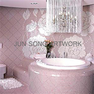 MP-WF08 China Premium Mosaic Flower Design Iridescent Glass Mosaic Tile Pink Bathroom Wall Tile