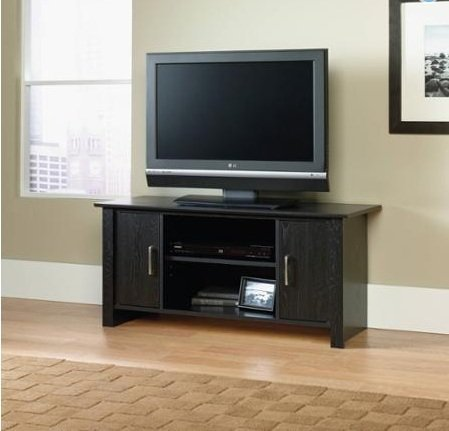 """TV Stand for Flat-Screen TVs up to 42"""" - 95 lbs, Adjustable shelf, storage"""