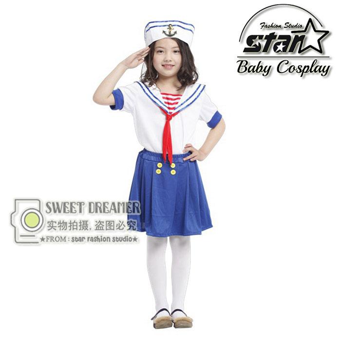 font b Children b font Halloween Party Cosplay Cute Seawoman Navy Blue Sailor font b
