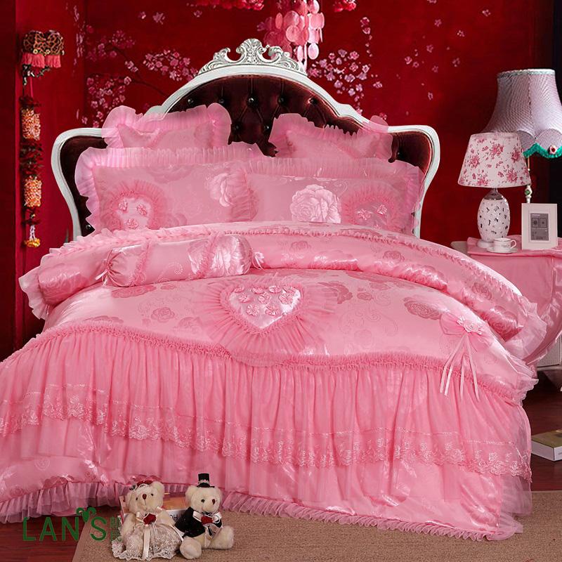 korean bedding traditional satin bed sheet sets cotton 4pcs jacquard edge lace princess ae93 pillowcases queen king