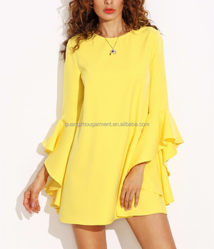 8284c58dfe New Fashion Women Summer Dress Ruffle Sleeve Shift Dress Party Celebrity  Mini Yellow Dress