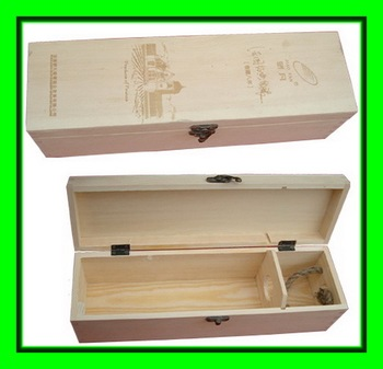 Pine Wood Decorative Timber Wine Bottle Gift Boxes