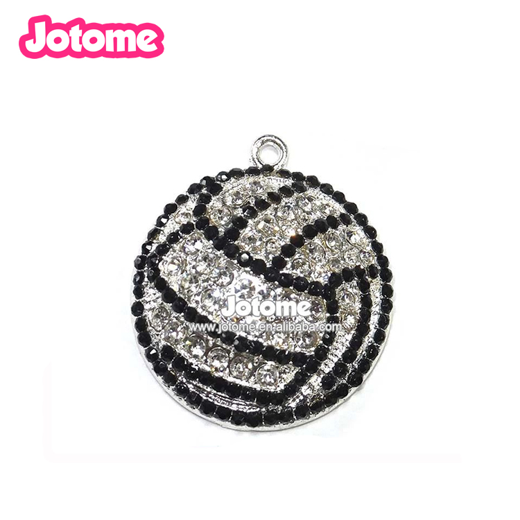 Black Silver Cross Round Sport Accessories Volleyball Shape Most Popular Fashion Rhinestone Pendant