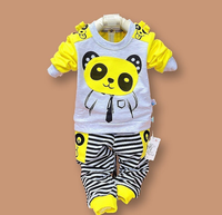 Hot Selling 2 Pieces Panda Cartoon Spring Autumn Newborn Baby Clothes for 18 month to 2 years